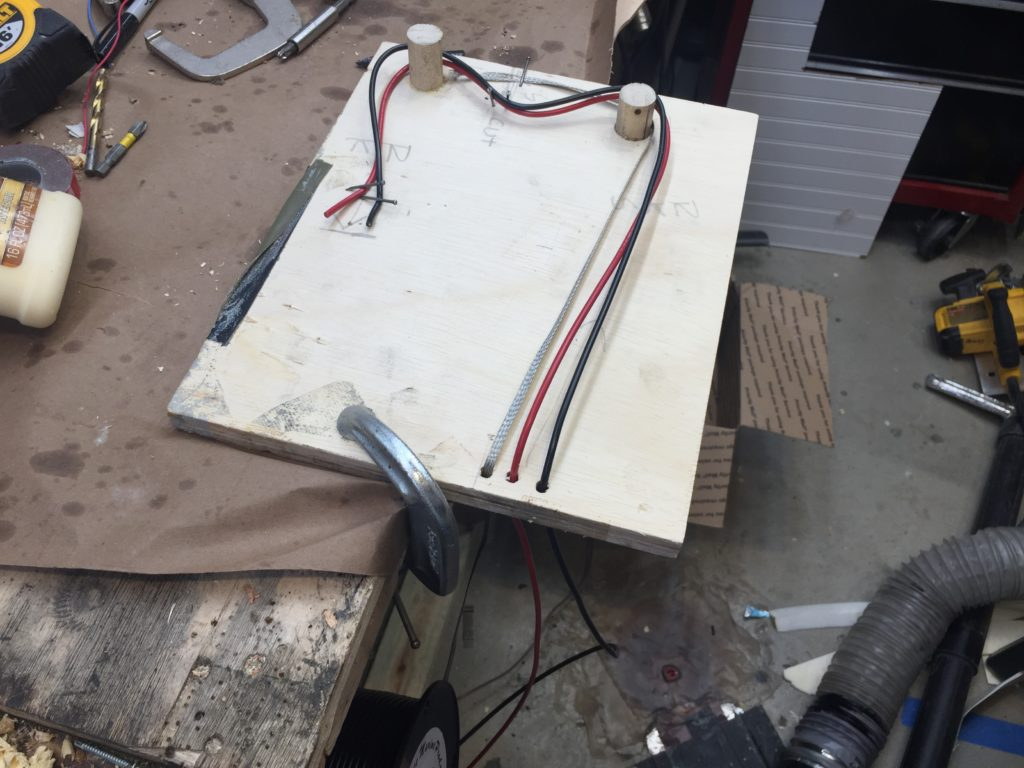 Wire harness cutting jig, top view
