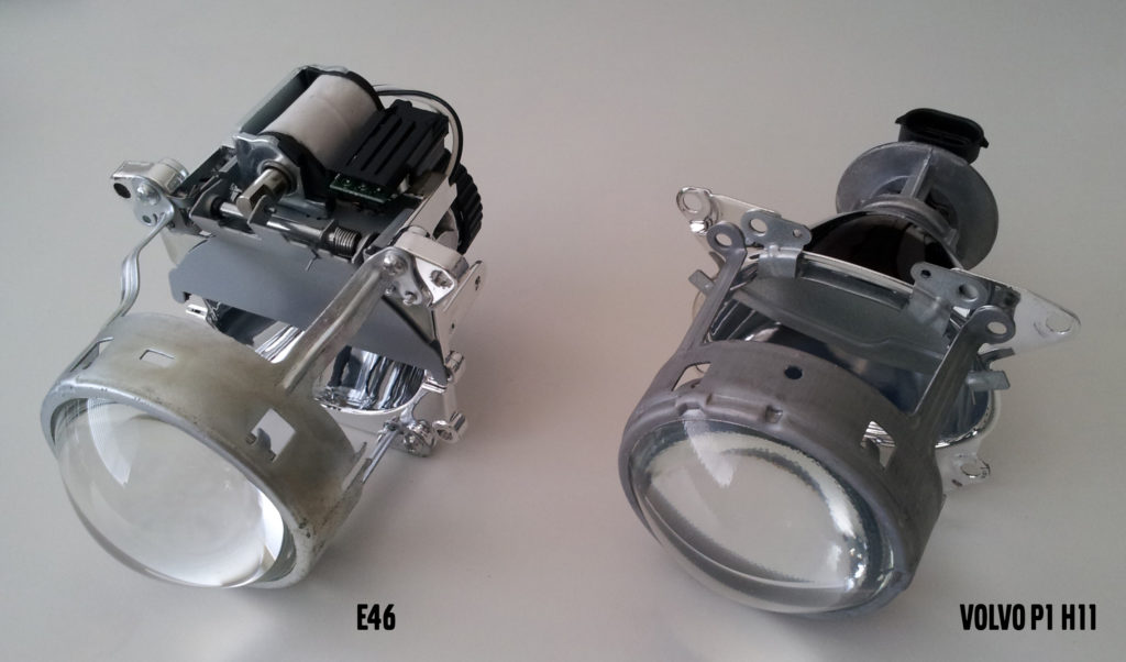 BMW E46 Bi-Xenon projector (left) vs the Volvo P1 OE Halogen H11 projector (right)