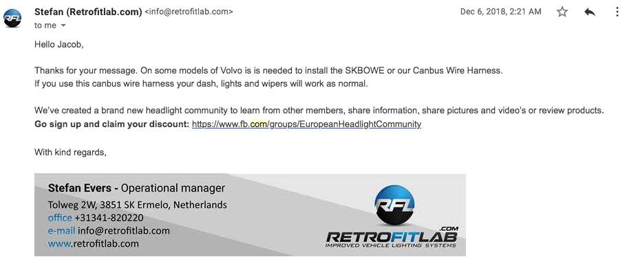 Email from customer service at retrofit lab